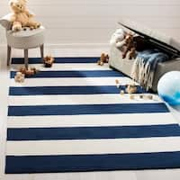 Safavieh Kids Transitional Stripe Hand-Tufted Wool Navy/ Ivory Area Rug - 5' x 7'