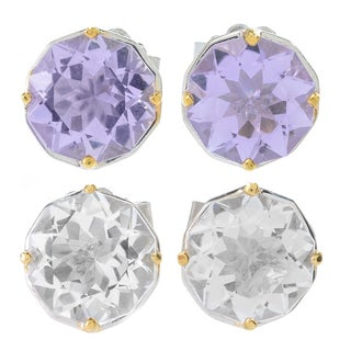 "Michael Valitutti Palladium Silver ""Manhattan"" Star Cut Pink Amethyst/White Quartz Stud Earrings"