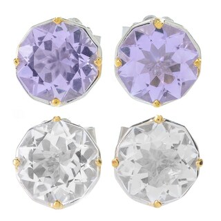 "Michael Valitutti Palladium Silver ""Manhattan"" Star Cut Pink Amethyst/White Quartz Stud Earrings"