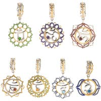 Michael Valitutti Palladium Silver Gemstone Chakra Symbol Drop Charm