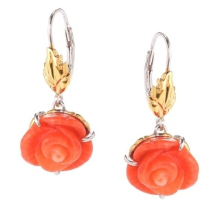 Michael Valitutti Palladium Silver Carved Salmon Bamboo Coral Flower Drop Earrings