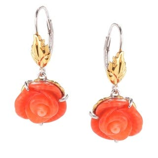 Michael Valitutti Palladium Silver Carved Salmon Bamboo Coral Flower Drop Earrings|https://ak1.ostkcdn.com/images/products/16600466/P22928803.jpg?impolicy=medium