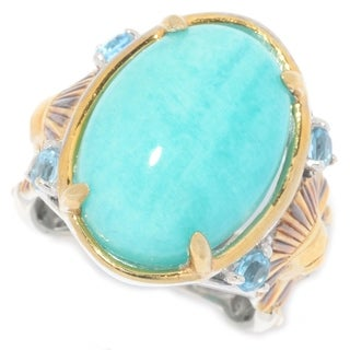 Michael Valitutti Palladium Silver Cleopatra Amazonite & Swiss Blue Topaz Pharaoh Ring