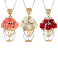Michael Valitutti Palladium Silver Carved Coral Flower & Glass Vase Bouquet Pendant