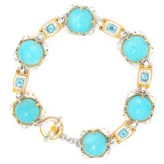 Michael Valitutti Palladium Silver Amazonite & Swiss Blue Topaz Toggle Bracelet