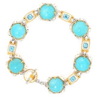 Michael Valitutti Palladium Silver Amazonite & Swiss Blue Topaz Toggle Bracelet|https://ak1.ostkcdn.com/images/products/16600682/P22928961.jpg?impolicy=medium