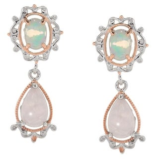 Michael Valitutti Palladium Silver Ethiopian Opal & Pear Shaped Rose Quartz Drop Earrings