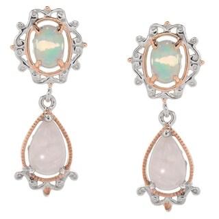 Michael Valitutti Palladium Silver Ethiopian Opal & Pear Shaped Rose Quartz Drop Earrings