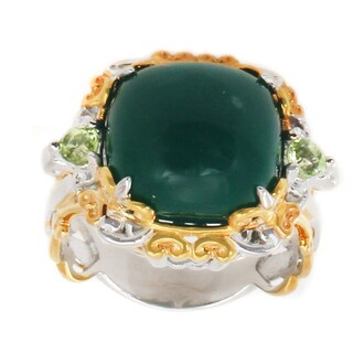 Michael Valitutti Palladium Silver Dark Green Chalcedony & Peridot Scrollwork Ring