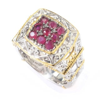 "Michael Valitutti Palladium Silver Paris ""Petite Paree"" Ruby Eiffel Tower Ring"