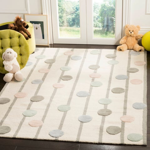 Safavieh Kids Transitional Geometric Hand-Tufted Wool Ivory/ Multi Area Rug - 5' x 7'