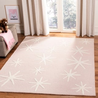 Safavieh Kids Transitional Geometric Hand-Tufted Wool Pink/ Ivory Area Rug (5' x 7')