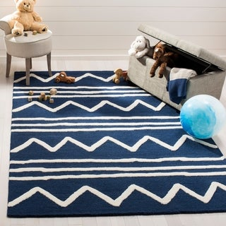 Safavieh Kids Transitional Geometric Hand-Tufted Wool Navy/ Ivory Area Rug (5' x 7')