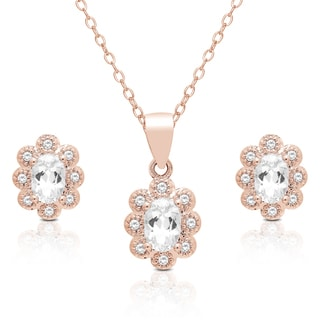 Dolce Giavonna Rose Gold Overlay Cubic Zirconia Flower Design Necklace and Earrings Set