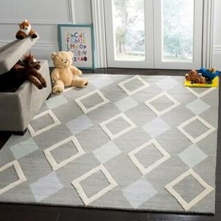 Safavieh Kids Transitional Geometric Hand-Tufted Wool Grey/ Multi Area Rug (5' x 7')