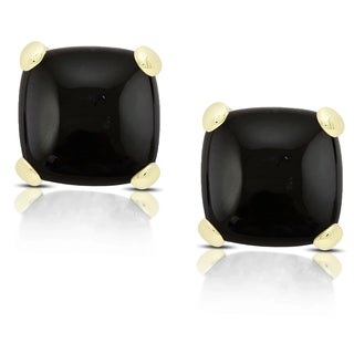 Dolce Giavonna Gold over Sterling Silver Cushion-cut Black Onyx Stud Earrings