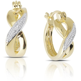 Finesque Gold over Sterling Silver Diamond Accent Infinity Hoop Earrings (I-J, I2-I3)