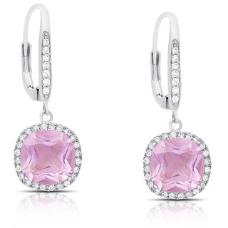 Dolce Giavonna Silver Overlay Simulated Pink Topaz and Cubic Zirconia Dangle Earrings
