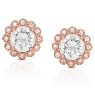 Dolce Giavonna Rose Gold Overlay Cubic Zirconia Flower Stud Earrings