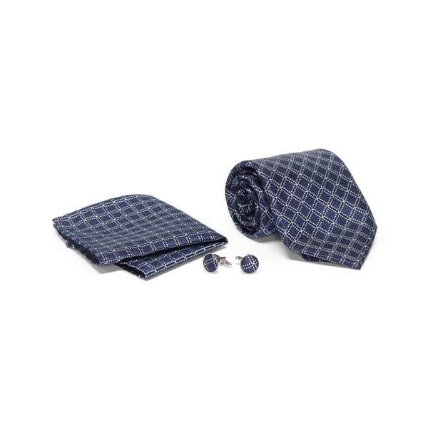 Mens Tie with Matching Handkerchief and Hand Cufflinks-Navy Blue Diamond Design