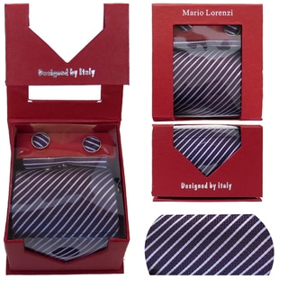 Men's Tie with Matching Handkerchief and Hand Cufflinks-White and Dark Fushia Stripped