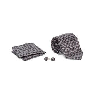 Men's Tie with Matching Handkerchief and Hand Cufflinks-Red Dotted White Diamond