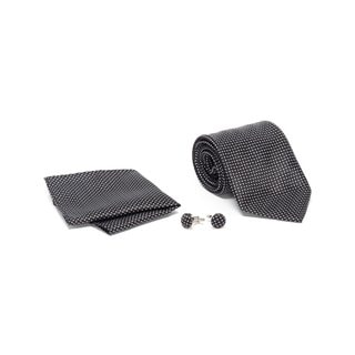 Men's Tie with Matching Handkerchief and Hand Cufflinks-White Dotted On Black