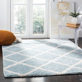 Safavieh New York Shag Contemporary Geometric Blue/ Ivory Area Rug (4' x 6')