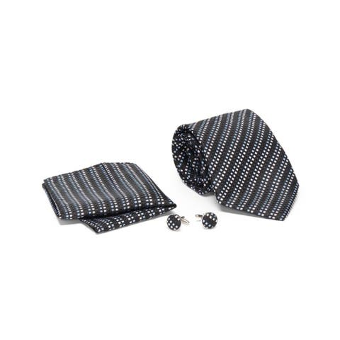 Men's Tie with Matching Handkerchief and Hand Cufflinks-Blue and White Dot Stripped