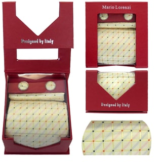 Men's Tie with Matching Handkerchief and Hand Cufflinks-Orange Dotted Yellow Square