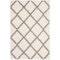 Safavieh New York Shag Contemporary Geometric Ivory/ Grey Area Rug - 4' x 6'