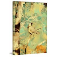 'Collage Bird and Birch' Painting Print on Wrapped Canvas - Yellow
