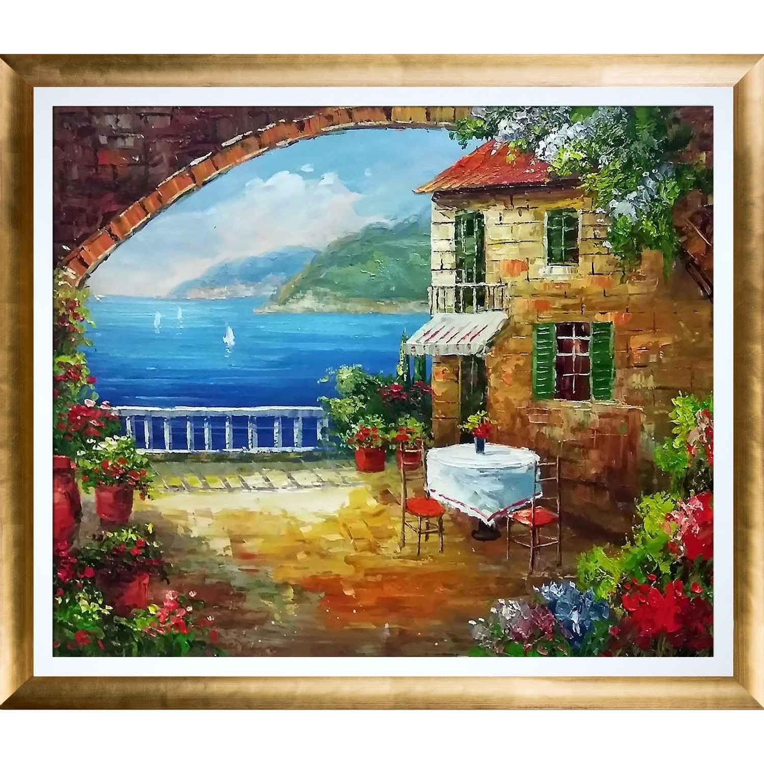 Shop Cafe At Oceanside Hand Painted Oil Reproduction On Sale