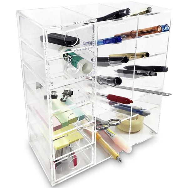 Ikee Design Acrylic 6 Shelf Office Supply Organizer Storage Drawer Case