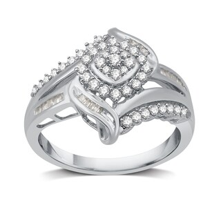 1/2 CTTW Diamond Fashion Cocktail Cluster Ring in Sterling Silver (I-J, I2-I3) - White I-J