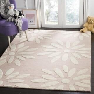 Safavieh Kids Transitional Geometric Hand-Tufted Wool Pink/ Ivory Area Rug - 3' x 5'