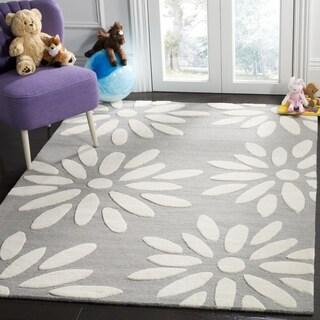 Safavieh Kids Transitional Geometric Hand-Tufted Wool Grey/ Ivory Area Rug (3' x 5')
