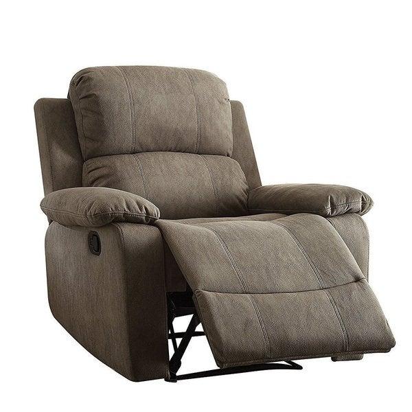 Q Max Recliner Grey Memory Foam Pillow Top Arm Chair