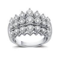1/2 CTTW Diamond Three Row Anniversary Ring in Sterling Silver (I-J, I2-I3) - White I-J