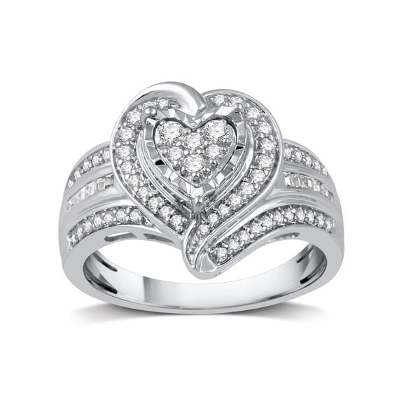 15c3c436488 Shop 1/2 CTTW Diamond Fashion Heart-Shaped Ring in Sterling Silver ...