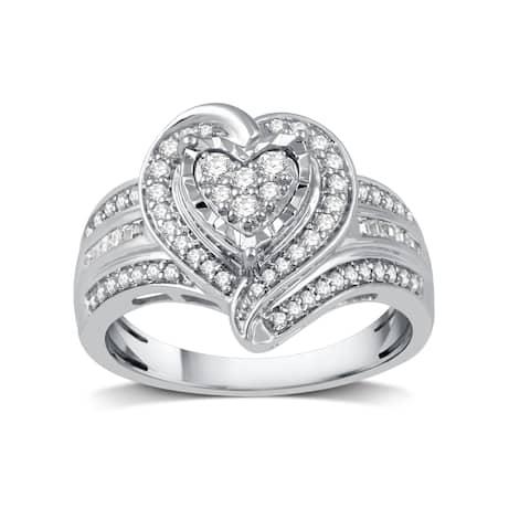 1/2 CTTW Diamond Fashion Heart-Shaped Ring in Sterling Silver (I-J, I2-I3) - White I-J