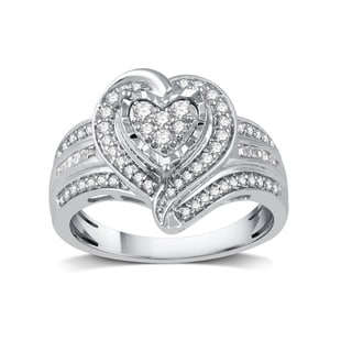 1/2 CTTW Diamond Fashion Heart-Shaped Ring in Sterling Silver (I-J, I2-I3)