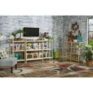 Clearance NewRidge Home Solid Wood Exmore Bookshelf Media Center With Adjustable Shelf