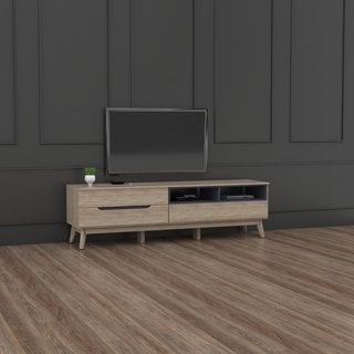 Mid-Century Two-Tone Oak and Grey Wood TV Stand by Baxton Studio