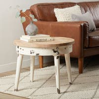 Handmade Reclaimed Wood Sienna Round End Table (India)