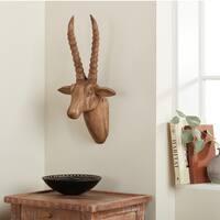 Handmade Wood Antelope Head Statue Wall Décor (India)