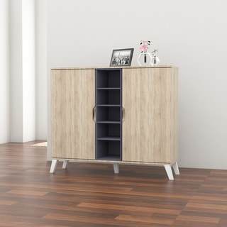 Link to Mid-Century Oak and Grey Wood Storage Cabinet by Baxton Studio Similar Items in Living Room Furniture