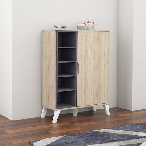 Mid-Century Oak and Grey Wood Storage Cabinet by Baxton Studio