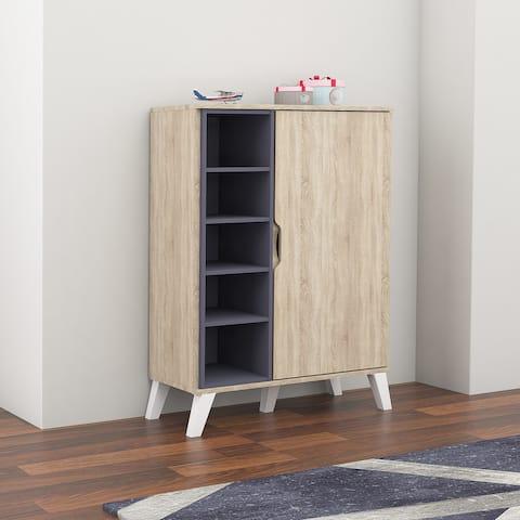 Mid-Century Oak and Grey Wood Storage Cabinet by Baxton Studio