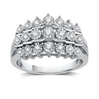 1/4 Diamond Multi Row Anniversary Ring In Sterling Silver (I-J, I2-I3) - White I-J